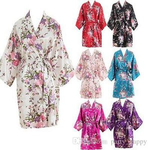 Womens Dresses Silk Print Robe Single Short Kimono Bathrobe Cardigan Women Short Floral Dressing on Sale