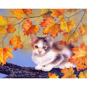 Wholesale Maple Leaves Cat Diy Painting By Numbers Kits Animals Acrylic Paint Unique Gift For Home Decor Wall Art x50 No Frame