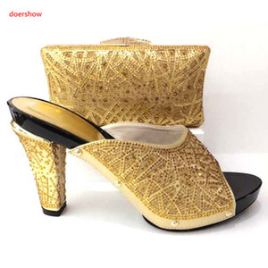 Italian Shoes with Matching Bags High Quality African Party Shoes and Bag Set Decorated with Rhinestone A1-28
