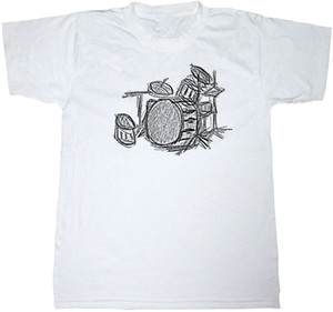 Wholesale DRUM KIT T SHIRT COTTON MUSIC DRUMMER HEAVY ROCK METAL SKETCH ART T SHIRT Print Tee Shirt For Male Breathable