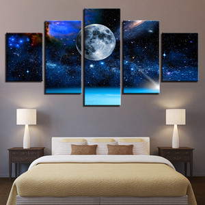 Wholesale canvas art moon resale online - Canvas Paintings Home Decor Wall Art HD Prints Pictures Pieces Moon Earth Universe Star Sky Posters For Living Room Pictures