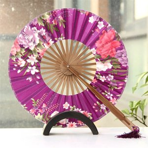 Wholesale Round Windmill Hand Fan Wedding Favor Gift Women Cherry Blossoms Folding Fans Lady Japanese Style Party Supplies ys Ww