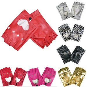 Women's Semi-finger Hip-hop Style Gloves Lady's Artificial Leather Heart Cutout Sexy Fingerless Gloves Girls Performance Dancing
