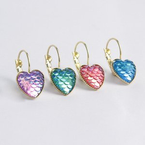 30pcs lot DoreenBeads Drusy Jewelry Resin Mermaid Fish  Dragon Scale Ear Clips Earrings Rose Gold AB Rainbow Multicolor Round