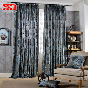 Wholesale European Damask Flocked Jacquard Curtains for Living Room Luxury Drapes Window Decoration Classical Shiny Velvet Bedroom Panel