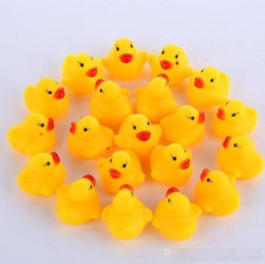 Wholesale rubber ducking resale online - 100pcs mini Rubber bath duck Pvc duck with sound Floating Duck Fast delivery Swiming Beach BY000