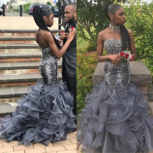 Fashion 2019 Mermaid Prom Dresses Sweetheart sleeveless Zipper Full Beads Organza Tiered SKirts Sweep Train Custom Made Evening Dresses Wear on Sale