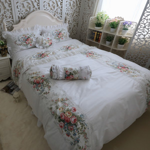 Wholesale Hight Quality Coon Whte Lace edge Ruffles Rose Printing Bedding Set Fairy Girl Bed Skirt Duvet Cover Set Queen Full