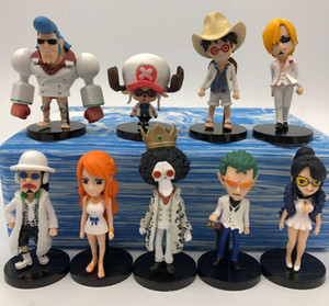 Wholesale one piece figure set sanji resale online - 9Pcs set All series One Piece Action Figures Luffy Zoro Nami Usopp Sanji Tony Chopper Nico Franky Brook Model Toys
