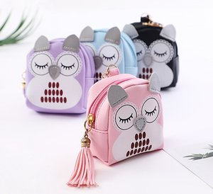 Wholesale Little owl, lovely lady, zipper zipper, cartoon key buckle, Tassel pocket coin bag.