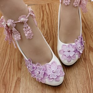 Light Purple Organza Flowers Bridal Shoes High Heels Platform Lace Ankle Straps Pumps Women Shoes Cheap Wedding Shoes Heels