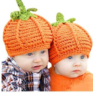 New Style Cute Newborn Baby Cartoon Pumpkin Cap Knit Hat Halloween Costume Photography Prop Kids Girl Boy Hats Drop Shipping