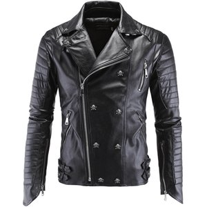 2018 Men's New Arrival Brand Motorcycle Leather Jacket Men's High-end Boutique Punk Jacket 5XL