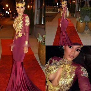 Wholesale Sexy Backless High Neck Keyhole Mermaid Prom Dresses Burgundy Gold Applique Cheap Party Evening Dresses Celebrity Gowns Robe De Soiree