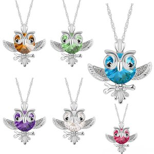 Wholesale Red Blue Austrian Crytal Owl Necklace Big Eye Owl Pendant Fashion Jewelry for Women Wedding Gift Drop Shipping