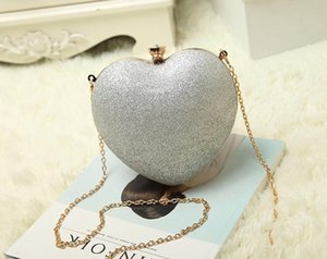 girl colorful Style Elegant Clutch Evening Bags Heart-shaped child chain gold high Shoulder Cross Body Bags High Grade Hardware wt1728