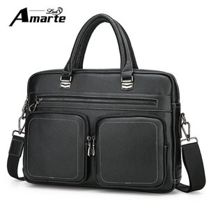 Wholesale Amarte Top Sell Fashion Simple Dot Famous Brand Business Men Briefcase Bag Leather Laptop Bag Casual Man Shoulder Bags