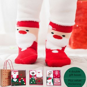 Christmas stockings gift bag autumn and winter new boys girls socks cotton plus velvet thick baby socks
