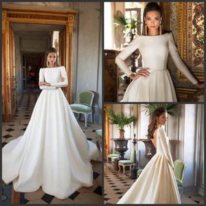 Wholesale 2018 New Milla Nova Wedding Dresses A Line Satin Backless Sweep Train Long Sleeve Wedding Gowns Bateau Neck Winter Bridal Dress Plus Size