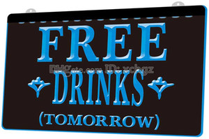 Wholesale F1104 Free Drinks Tomorrow Beer Bar NEW D Engraving LED Light Sign Customize on Demand colors