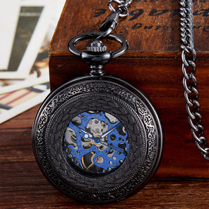 Wholesale Luxury Black Mechanical Pocket Watch Men Vintage Hollow Hand Wind Fob Clock With Chain Pendant Men Women Gift