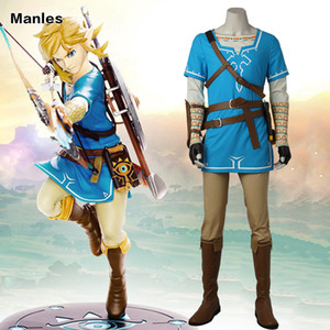 adult The Legend of Zelda Breath of the Wild Link Costume Anime Uniform Halloween Carnival Cosplay Adult Men Blue Shirt Unisex