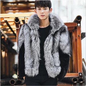Wholesale- Clobee Men faux fur Coats 2017 men's winter thicken hooded gray fur jacket flurry fake long-sleeved warm coats M771 on Sale