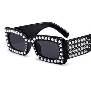 Wholesale Latest Fashion Pearl Crystal Frame Sunglasses Lady Fashion Designer Sunglasses Women Oculos De Sol UV400 W2