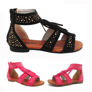 Wholesale Tassel Gladiator Girls Sandal with Shinning Diamonds Zipper Flat Kids Toddler Shoes Fuchsia Black Brush PU