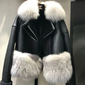 Wholesale Autumn Winter Warm Real Fur Coat Women With Real Fox Fur Trim Genuine Suede Leather Fur jackets