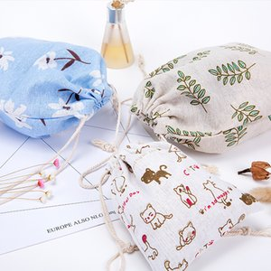 Wholesale small fresh cotton DrawString change bag dust bag pockets portable travel cosmetic bunch pocket