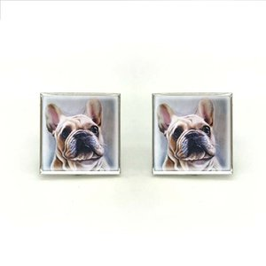 Wholesale New Square French Bulldog Cufflink Cute Dogs Cufflinks Silver Hand Craft Jewelry High Quality Cuff For Mens Wedding
