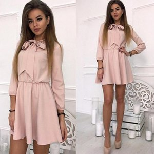 Wholesale Solid Women Fashion Bow Causal Party Dress Wrist Sleeve A Line O Neck Solid Vintage Dress Spring Plus Size Women Mini Dresses