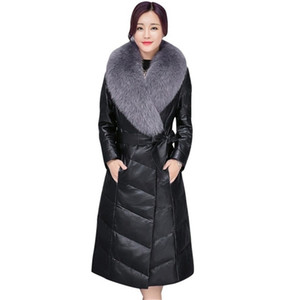 Wholesale BEAUTY STEELE New Fox Fur Collar Woman Fur Coat Artificial Leather PU Style Fashionable Casual High Quality Coat Black