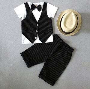 Baby Cool Suit Fashion Fake Two Pcs Clothing Sets Wedding Kids Dress Tops+Pants Kids Clothing