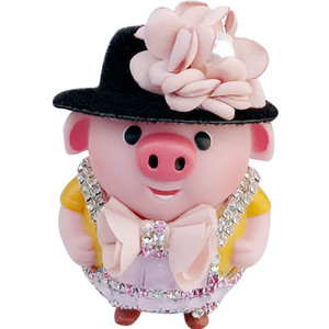 Wholesale Cute Cartoon Pig Doll PVC Key Ring Crystal Cap Animal Pig Keychain Creative Gift Purse Bag Phone Car Charms Pendant Keyring