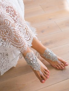 Custom Made Elegant Lace Beach Wedding Barefoot Sandals Anklet Chain Cheap Custom Made Bridal Bridesmaid Jewelry Foot With Beads