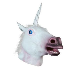 gruselige partei maske kopf großhandel-Super Creepy Einhorn Kopf Maske Tier Latex Halloween Party Kostüm Tier Spaß Theater Drama Prop Halloween Dekorationen CPW27