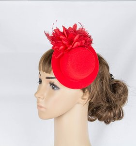 Retail elegant lady girls Fascinator party cocktail dress up with hair clip mini top hat flower design DIY accessories MYQ071
