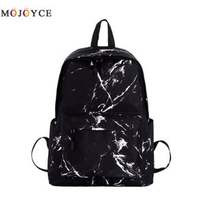Teenager Boys Girls Marble Stone Print Backpack Preppy Style Rucksack Canvas Shoulder School Backpack  Feminina