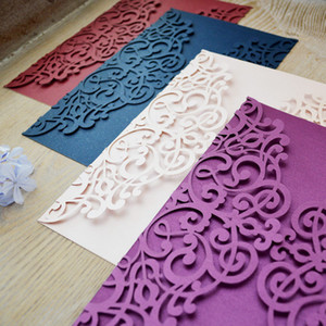Floral Folded Laser Cut Wedding Invitations European Wedding Invites Cover Navy Burgundy Multi Color Free Shipping