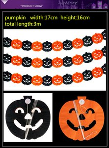 Wholesale Holloween Paper Garlands Adornment Flowers Ghost Festival Decoration Paper Garland Spider Pumpkin Ghost Several Design Option