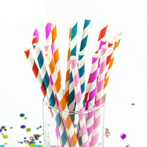 Wholesale 150PCS Rainbow Option Design Paper Straws For Wedding Birthday Party Fashion Drinking Straws Decoration Supplies
