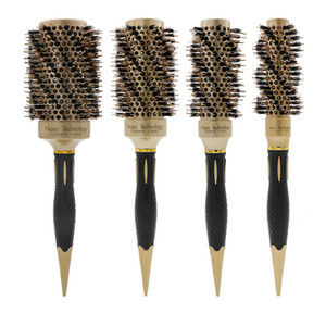 Wholesale Boar Brislte Massage Ionic Salon Curling Brush Professional Hairdressing Ceramic Coating Barrel Round Ceramic Hair Brush
