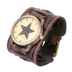 Wholesale NEW Manual Digital watch Not waterproof Retro Rock Cool Big Wide PU Leather Bracelet Men Watch