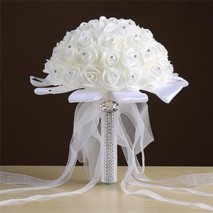 25*20cm Crystals Beaded Rose Artificial Bridal Flowers Bride Bouquet Wedding Bouquet Crystals Ivory Silk Ribbon New Bouque De Noiva
