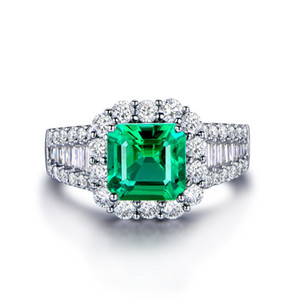 Cross-border exclusive explosions exquisite boutique silver ring Luxury diamond emerald zircon men's ring