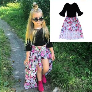 Wholesale Girls fashion dovetail skirt outfits pc set black flare sleeve T shirt shorts floral skirts ins hot kids summer oufits