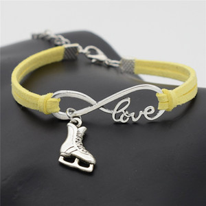 Silver Infinity Love Figure Skating Boots Shoe Yellow Leather Rope Link Chain Charm Bracelets & Bangles For Men Women Wholesale Jewelry Gift