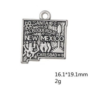 Wholesale mexico silver jewelry for sale - Group buy Zinc alloy Antique Silver Plated USA State Map New Mexico Charms for Jewelry Making